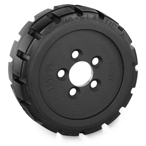 Drive wheel for electric pallet truck 230mm from Elastic Rubber Flange application with 5 holes for machines Linde