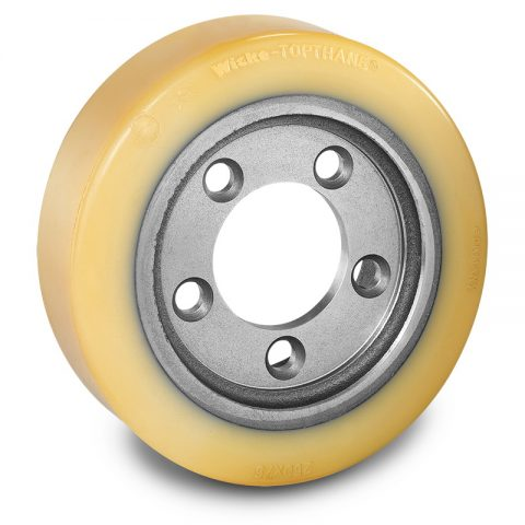 Drive wheel for electric pallet truck 250mm from polyurethane Flange application with 5 holes for machines BT