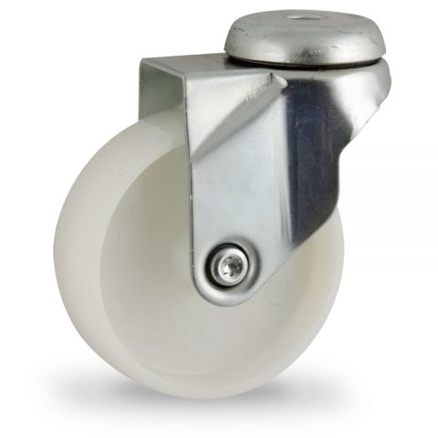 Zinc plated swivel castor 75mm for light trolleys,wheel made of polyamide,plain bearing.Bolt hole fitting