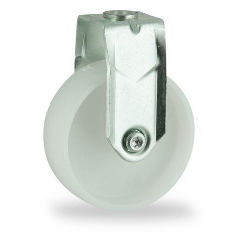 Zinc plated fixed castor 125mm for light trolleys,wheel made of polyamide,plain bearing.Bolt hole fitting