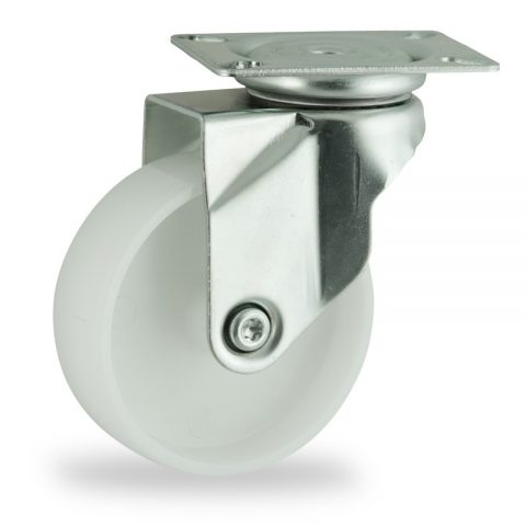 Zinc plated swivel castor 75mm for light trolleys,wheel made of polyamide,plain bearing.Top plate fitting