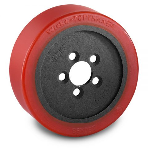 Drive wheel for electric pallet truck 230mm from polyurethane Flange application with 5 holes for machines Linde