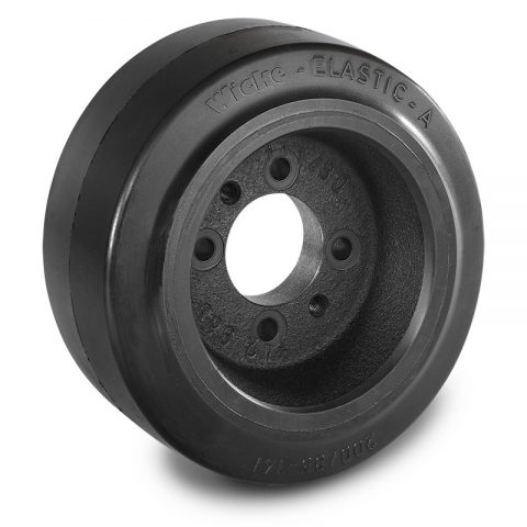 Drive wheel for electric pallet truck 200mm from Elastic Rubber Flange application with 4 holes for machines Jungheinrich