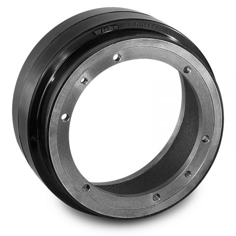 Drive wheel for electric pallet truck 260mm from Elastic Rubber Flange application with 6 holes for machines Jungheinrich