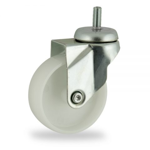 Zinc plated swivel castor 75mm for light trolleys,wheel made of polyamide,plain bearing.Bolt stem fitting