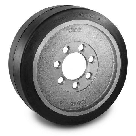 Drive wheel for electric pallet truck 343mm from Elastic Rubber Flange application with 7 holes for machines Steinbock,Jungheinrich