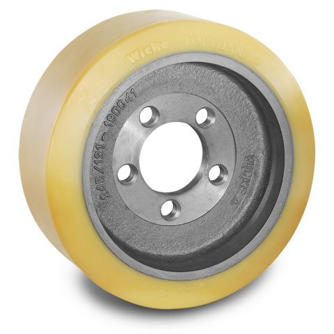 Drive wheel for electric pallet truck 313mm from polyurethane Flange application with 5 holes for machines Still-Wagner