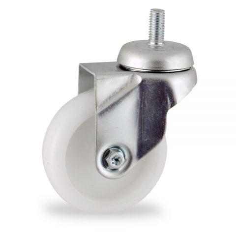 Zinc plated swivel castor 75mm for light trolleys,wheel made of polyamide,plain bearing.Bolt stem fitting