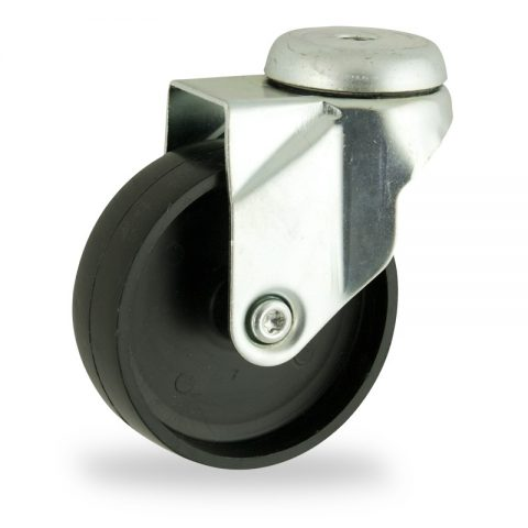 Zinc plated swivel castor 100mm for light trolleys,wheel made of polypropylene,plain bearing.Bolt hole fitting