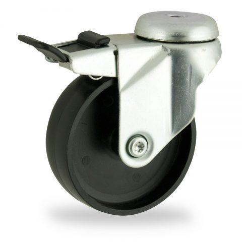 Zinc plated total lock castor 100mm for light trolleys,wheel made of polypropylene,plain bearing.Bolt hole fitting