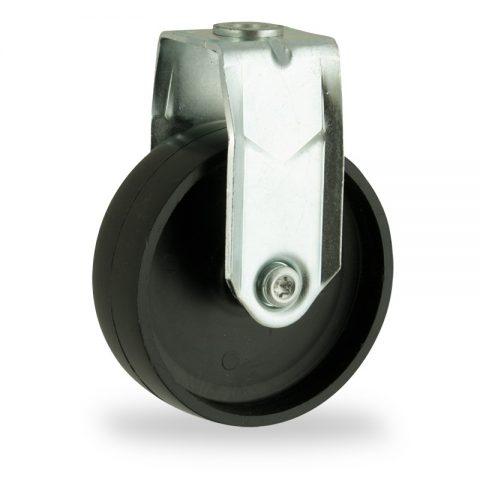 Zinc plated fixed castor 100mm for light trolleys,wheel made of polypropylene,plain bearing.Bolt hole fitting