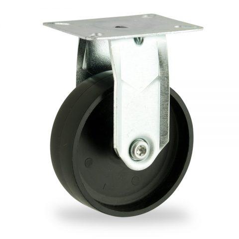 Zinc plated fixed castor 75mm for light trolleys,wheel made of polypropylene,plain bearing.Top plate fitting