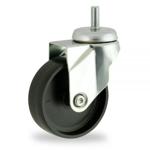 Zinc plated swivel castor 125mm for light trolleys,wheel made of polypropylene,plain bearing.Bolt stem fitting