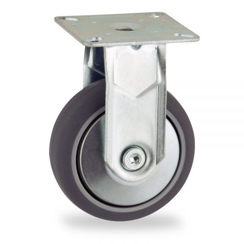 Zinc plated fixed castor 50mm for light trolleys,wheel made of grey rubber,plain bearing.Top plate fitting