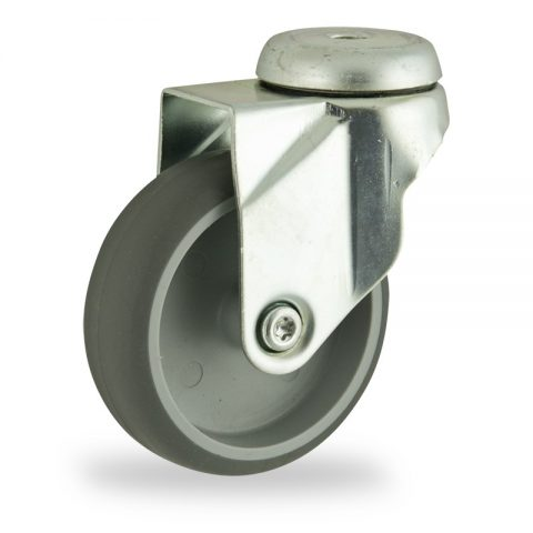 Zinc plated swivel castor 125mm for light trolleys,wheel made of grey rubber,plain bearing.Bolt hole fitting