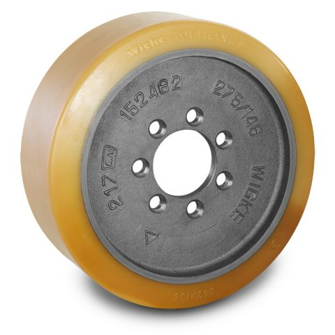 Drive wheel for electric pallet truck 343mm from polyurethane Flange application with 7 holes for machines Linde