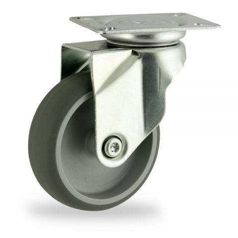 Zinc plated swivel castor 100mm for light trolleys,wheel made of grey rubber,plain bearing.Top plate fitting