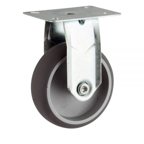 Zinc plated fixed castor 125mm for light trolleys,wheel made of grey rubber,plain bearing.Top plate fitting