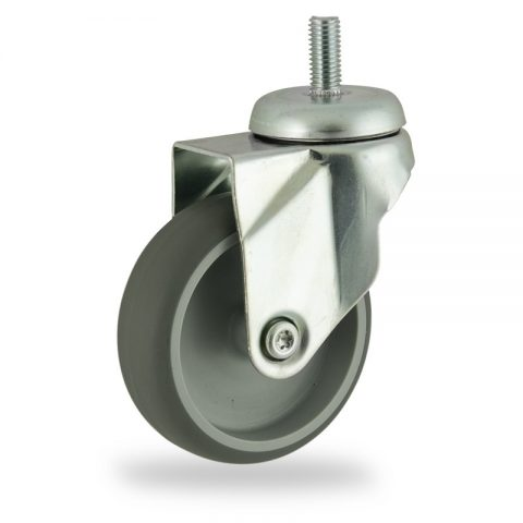 Zinc plated swivel castor 75mm for light trolleys,wheel made of grey rubber,double ball bearings.Bolt stem fitting