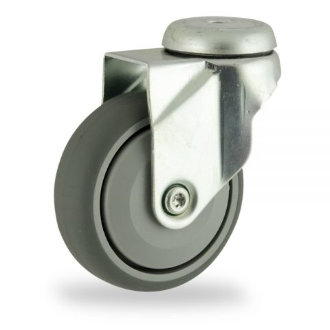 Zinc plated swivel castor 100mm for light trolleys,wheel made of grey rubber,single precision ball bearing.Bolt hole fitting