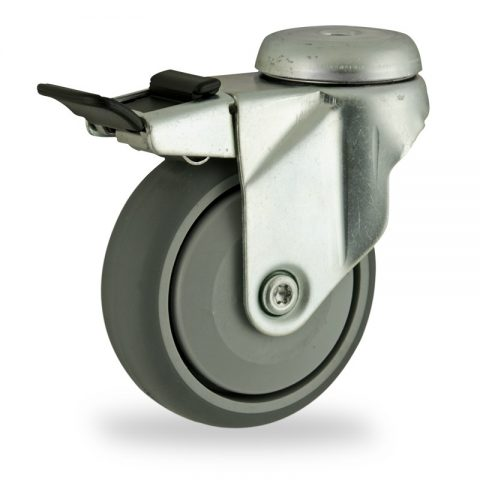 Zinc plated total lock castor 125mm for light trolleys,wheel made of grey rubber,single precision ball bearing.Bolt hole fitting