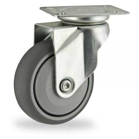 Zinc plated swivel castor 125mm for light trolleys,wheel made of grey rubber,single precision ball bearing.Top plate fitting