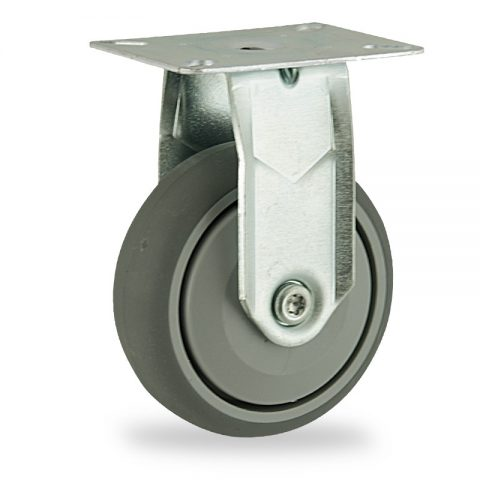 Zinc plated fixed castor 125mm for light trolleys,wheel made of grey rubber,single precision ball bearing.Top plate fitting
