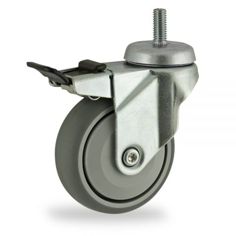 Zinc plated total lock castor 100mm for light trolleys,wheel made of grey rubber,single precision ball bearing.Bolt stem fitting