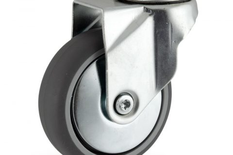 Zinc plated swivel castor 75mm for light trolleys,wheel made of grey rubber,plain bearing.Bolt hole fitting
