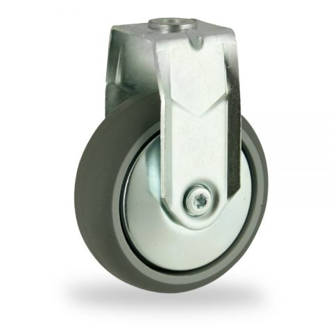 Zinc plated fixed castor 150mm for light trolleys,wheel made of grey rubber,plain bearing.Bolt hole fitting
