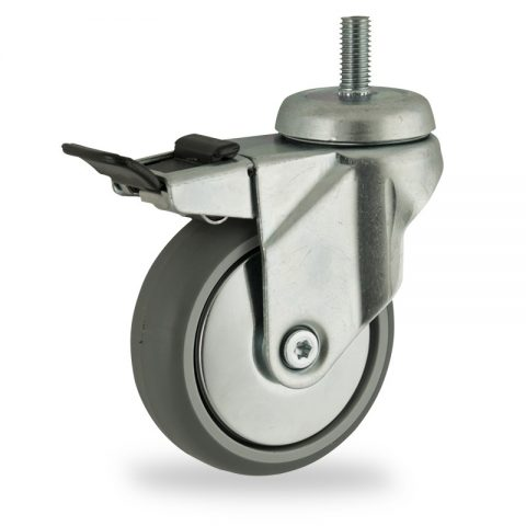 Zinc plated total lock castor 100mm for light trolleys,wheel made of grey rubber,plain bearing.Bolt stem fitting
