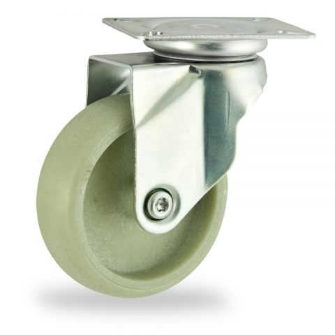 Zinc plated swivel castor 100mm for light trolleys,wheel made of polyamide with Fiber glass,plain bearing.Top plate fitting
