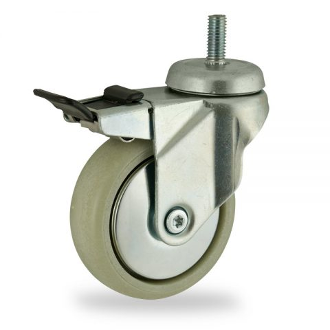 Zinc plated total lock castor 100mm for light trolleys,wheel made of polyamide with Fiber glass,plain bearing.Bolt stem fitting