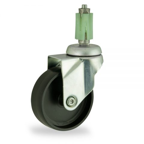 Zinc plated swivel castor 150mm for light trolleys,wheel made of polypropylene,plain bearing.Fitting with square expander 27/31