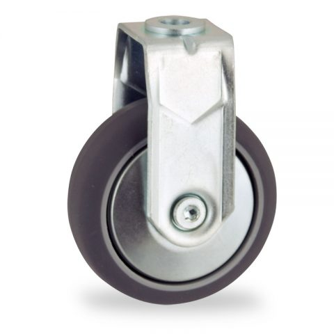 Zinc plated fixed castor 100mm for light trolleys,wheel made of grey rubber,double ball bearings.Bolt hole fitting