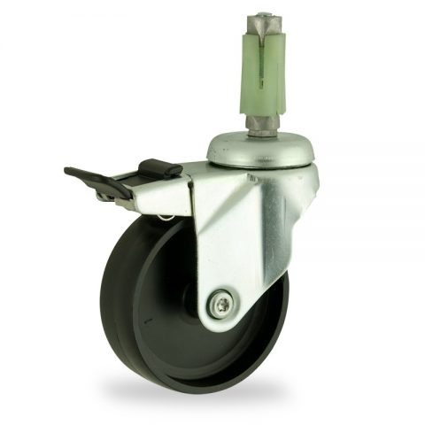 Zinc plated total lock castor 150mm for light trolleys,wheel made of polypropylene,plain bearing.Fitting with square expander 24/27