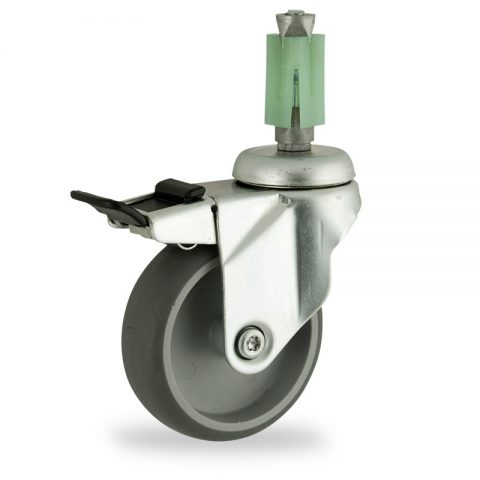 Zinc plated total lock castor 75mm for light trolleys,wheel made of grey rubber,double ball bearings.Fitting with square expander 27/31