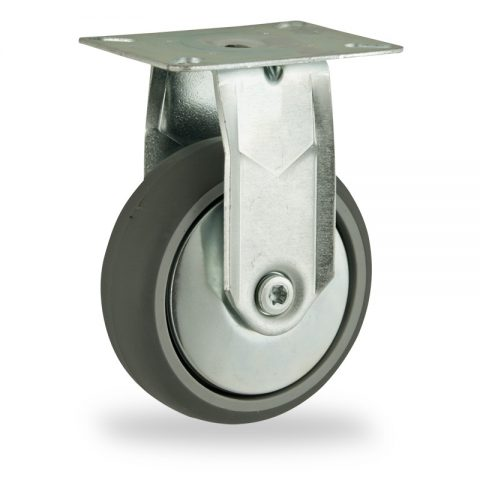 Zinc plated fixed castor 125mm for light trolleys,wheel made of grey rubber,double ball bearings.Top plate fitting