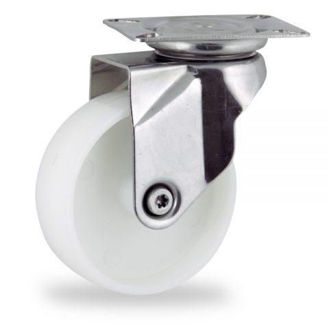 Ανοξείδωτη περιστρεφόμενη ρόδα 150mm για καρότσι ελαφρύ,με τροχό από Νάυλον χωρίς ρουλεμάν.Προσαρμογή με πλάκα.