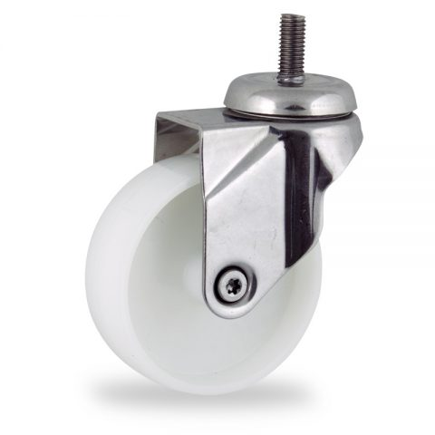 Stainless swivel castor 100mm for light trolleys,wheel made of polyamide,plain bearing.Bolt stem fitting