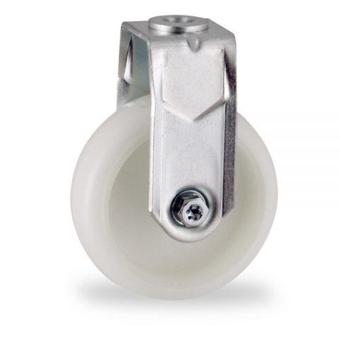 Zinc plated fixed castor 75mm for light trolleys,wheel made of polyamide,plain bearing.Bolt hole fitting