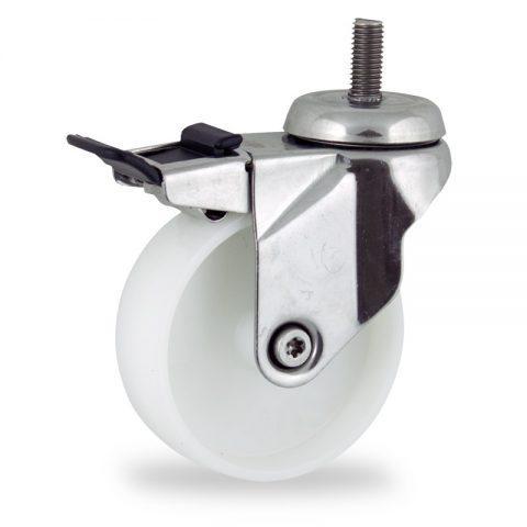 Stainless total lock castor 100mm for light trolleys,wheel made of polyamide,plain bearing.Bolt stem fitting