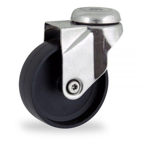 Stainless swivel castor 125mm for light trolleys,wheel made of polypropylene,plain bearing.Bolt hole fitting