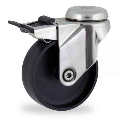 Stainless total lock castor 150mm for light trolleys,wheel made of polypropylene,plain bearing.Bolt hole fitting