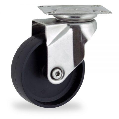 Stainless swivel castor 150mm for light trolleys,wheel made of polypropylene,plain bearing.Top plate fitting
