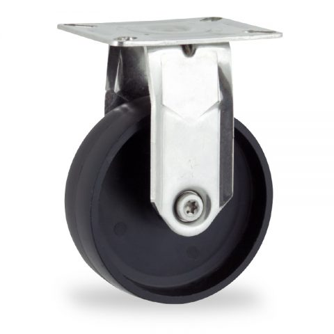 Stainless fixed castor 150mm for light trolleys,wheel made of polypropylene,plain bearing.Top plate fitting