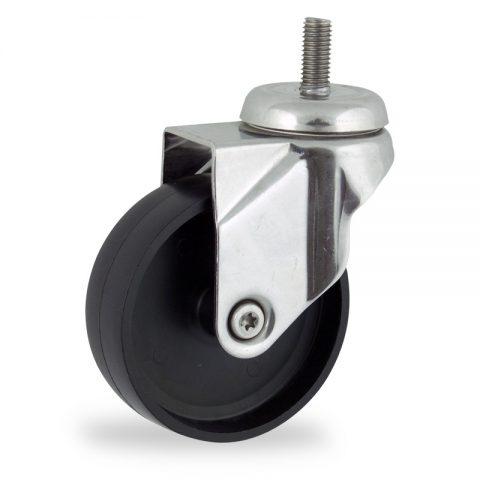 Stainless swivel castor 125mm for light trolleys,wheel made of polypropylene,plain bearing.Bolt stem fitting