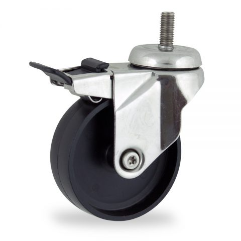 Stainless total lock castor 150mm for light trolleys,wheel made of polypropylene,plain bearing.Bolt stem fitting