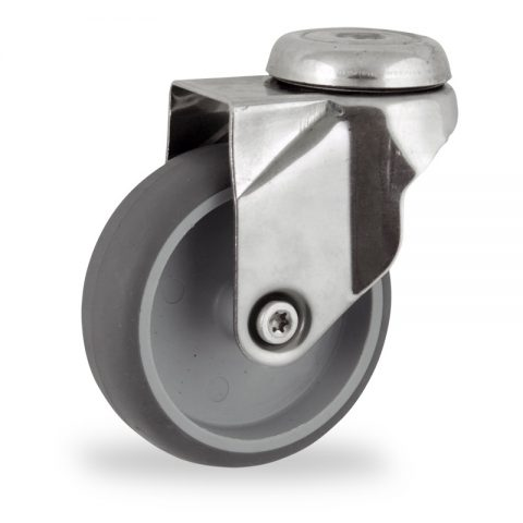 Stainless swivel castor 100mm for light trolleys,wheel made of grey rubber,plain bearing.Bolt hole fitting