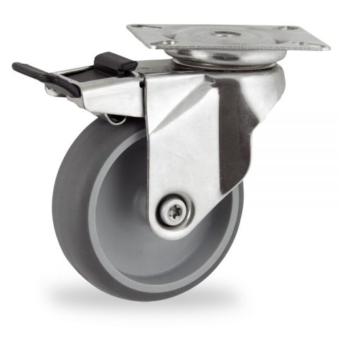Stainless total lock castor 100mm for light trolleys,wheel made of grey rubber,plain bearing.Top plate fitting